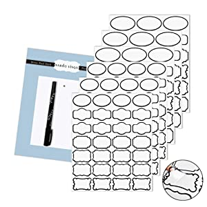 Nardo Visgo Transparent Clear Stickers Labels with Black Border,Removable Waterproof Transparent Jars Labels in Assorted Sizes for Jars,Storage Containers or Craft Decoration,138pcs