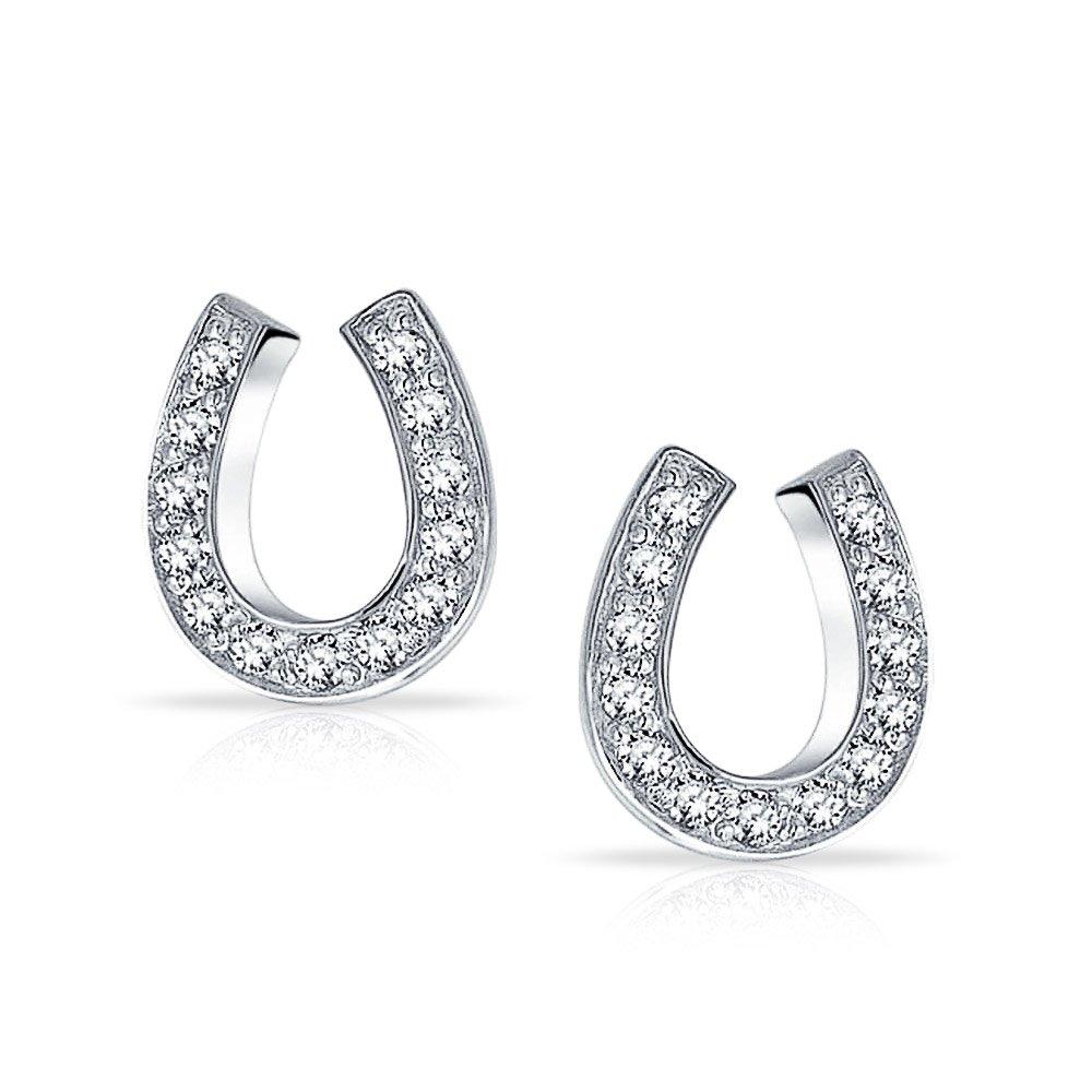 Good Luck Horseshoe Equestrian Cubic Zirconia Pave CZ Stud Earrings For Women Teen Graduation 925 Sterling Silver
