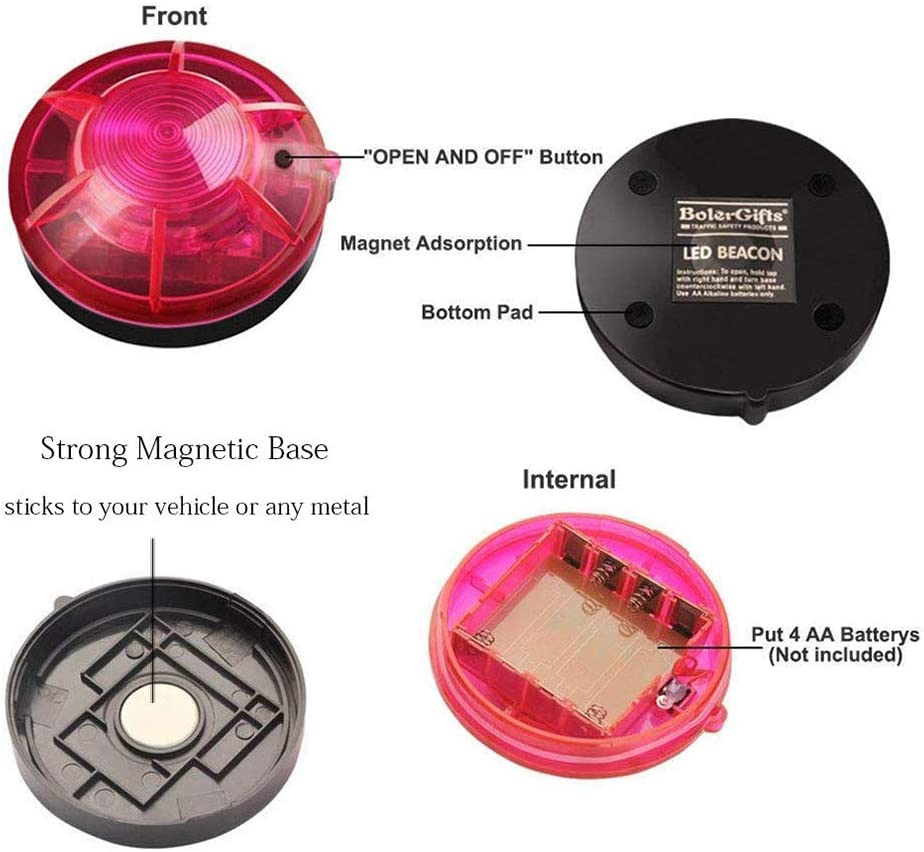 Macabolo Roadside Emergency Flare Alert Warning LED Light Warning Light Beacon with Magnetic Base for Outdoor Vehicle