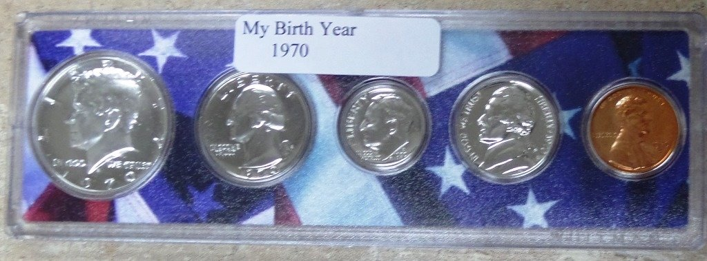 1970-5 Coin Birth Year Set in American Flag Holder Uncirculated