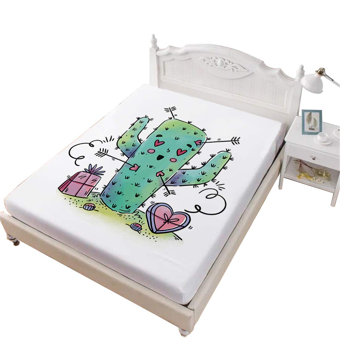 Oliven Bed Sheet King Size Cartoon Cactus Heart Fitted Sheet King Size Boys Girls Gifts Home Decor,White