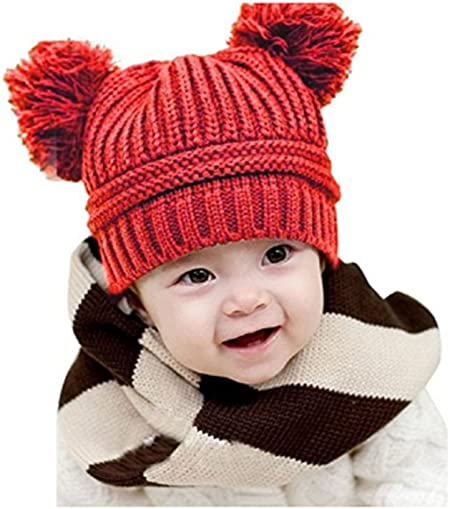Baby Kids Beanie For Boys Girls Cute Cap Cotton Knitted Ball Warm Christmas Hat
