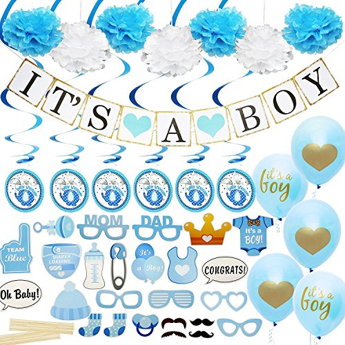 Baby Shower Decorations for Boy - Includes matching 'Its A Boy' Banner & Balloons, Cute Photo Booth Props, Blue & White Flower Decor, AND MORE! Perfect All In One Decoration Bundle -