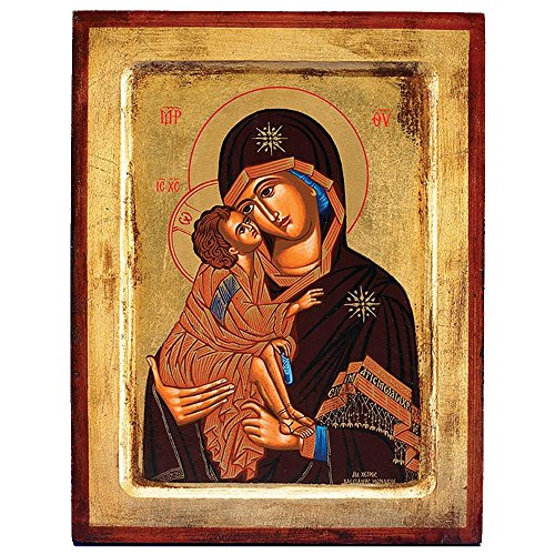 Virgin of Vladimir Greek Painted Icon by Catholic Gifts USA