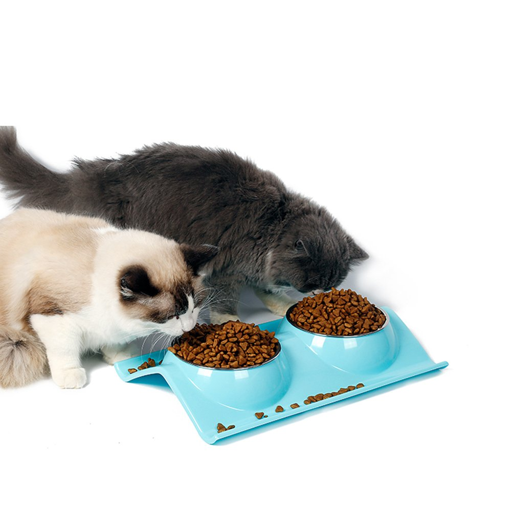PEACH - Stainless Steel Double Cat Bowl - Dog Kitties Pet Feeder No Spill Non Skid Deluxe Bowls Food Holder Feeding Tray Water Bowl (Blue)