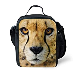 Mumeson Cheetah Print Kids Lunch Bag Zipper Around Insulated Lunch Kit Cooler with Shoulder Strape