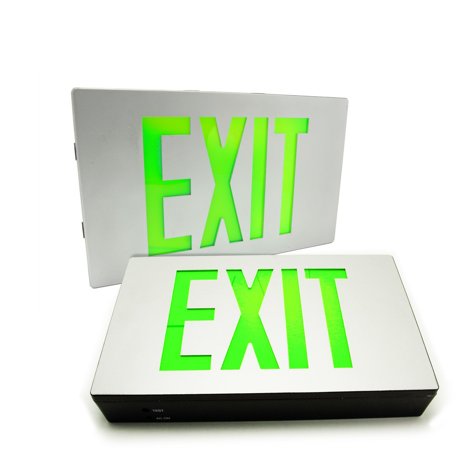 eTopLighting [2-Pack] Die Cast Exit Sign LED Light Panel, Aluminum Brushed with Green Lettering, Wall and Ceiling Mount with Battery Back-Up, AGG2732