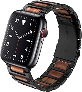 Wolait Compatible with Apple Watch Band 44mm 42mm, Natural Wood Red Sandalwood with Stainless Steel Metal Link band for iWatch SE/ Series 6/5/4/3/2/1 Men -Red Sandalwood+Black Steel -Red Sandalwood+Black Steel