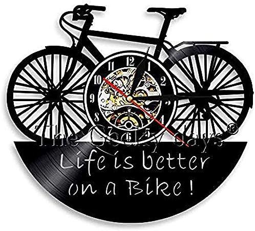 TPFEI Reloj de Pared 3D para Bicicleta La Vida es Mejor en una Bicicleta Reloj de