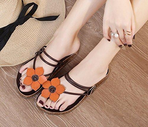 39 Uk Tamaño Us Chanclas Flores color Playa Mujer 5 Marrón Clip Yingsssq De 6 Planas 8 Eu Blanco Toe Antideslizante Zapatillas SpaxCq