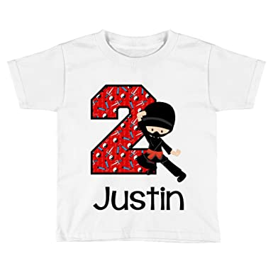 Blu Magnolia Co Boys Ninja 2nd Birthday Shirt