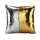 "BOOBEI Two Colors Reversible Sequins Mermaid Pillow Cases 1616"" Gold and Silver"