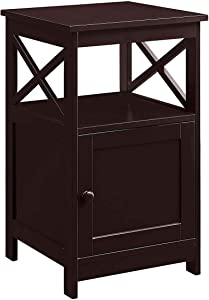 Convenience Concepts Oxford End Table with Cabinet, Espresso