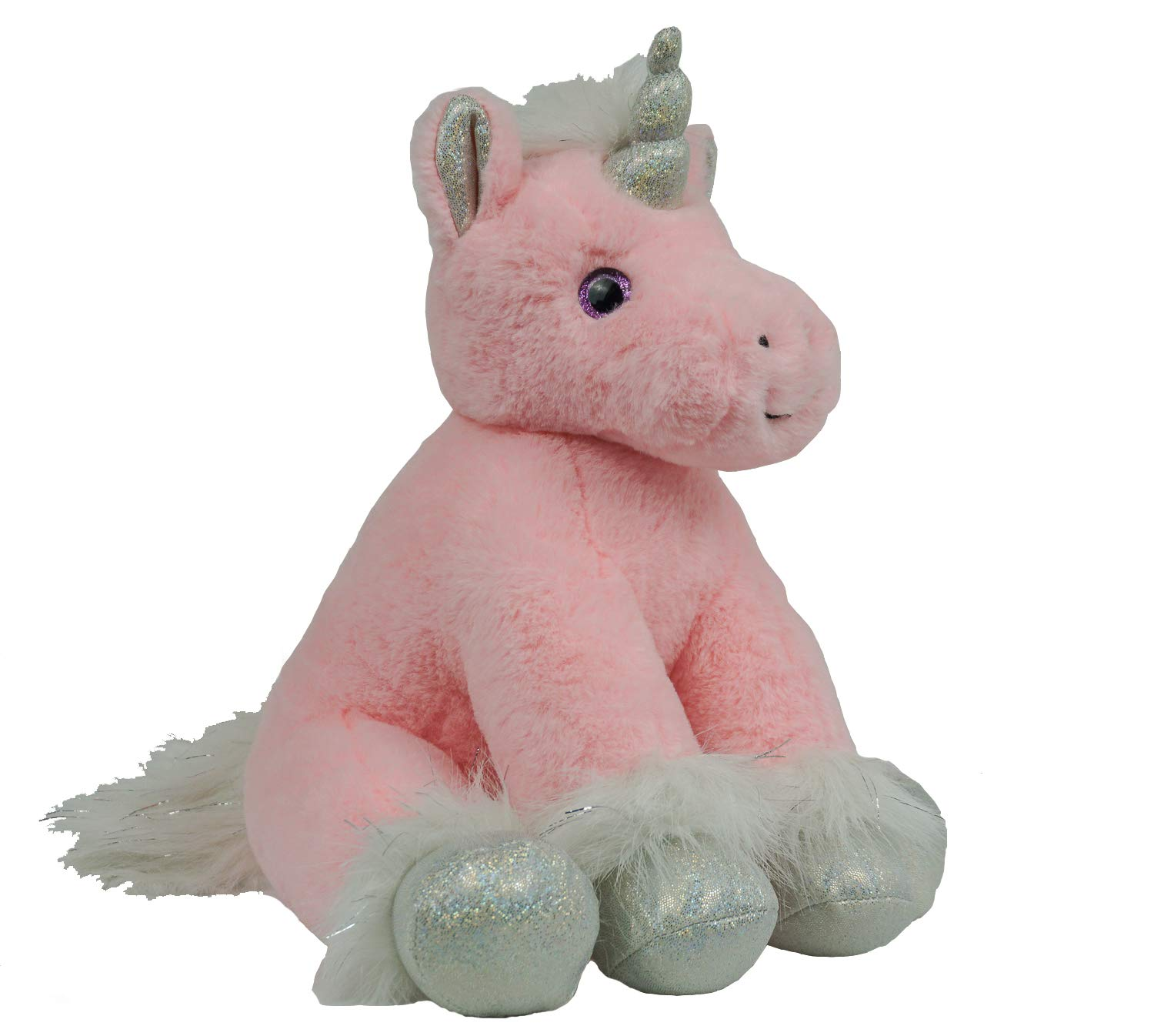 BEAREGARDS.COM Personalized Long Message Recordable 15 Inch Pink Sparkle Unicorn with 30 Seconds of Recording Time. by BEAREGARDS.COM