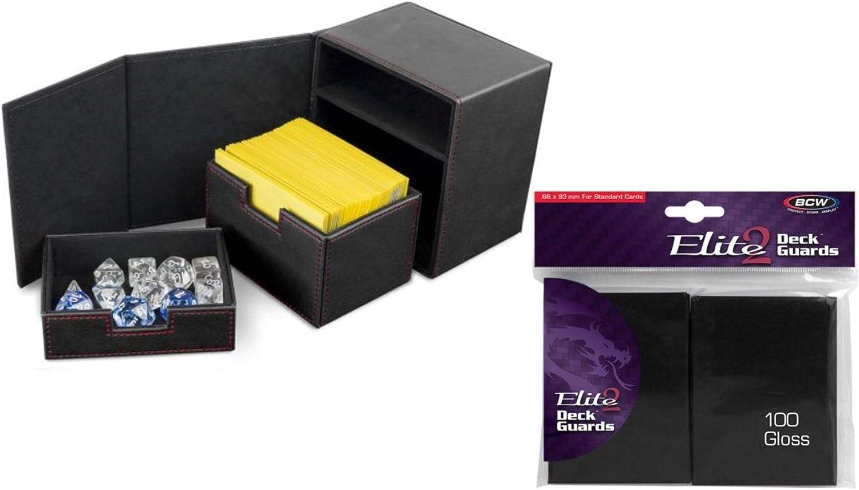 BCW Deck Vault LX 100 with 100 BCW Elite 2 Glossy Sleeves Black