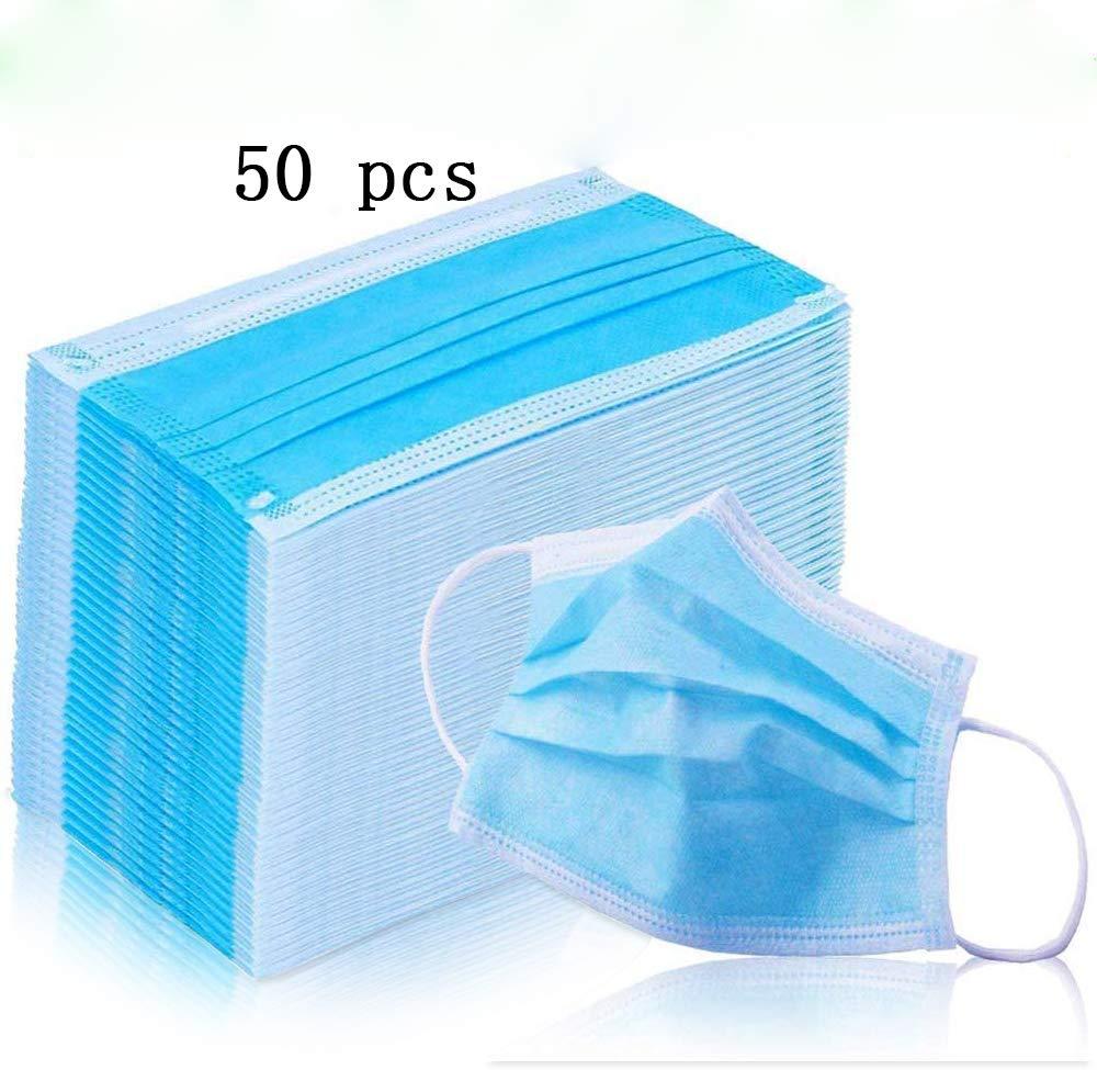4 capas de equipo de protección desechable con orejeras elásticas - 50 PCS - filtro suave y cómodo protección contra el polvo-a prueba de polvo
