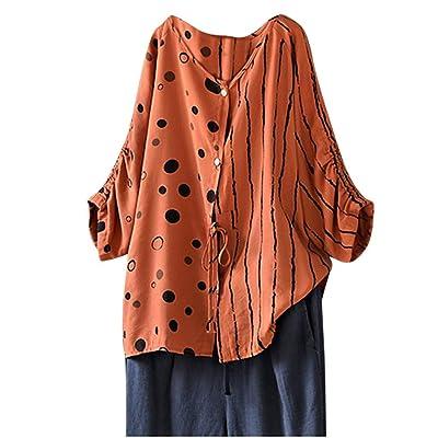 ღ YGbuy ♕ Camisa De Algodón y Lino De Gran Tamaño con Estampado Floral para Damas Camisa De Media Manga Camisa De Mujer Camisa Elegante De Gran Tamaño para Mujer Camisa Casual: Ropa y accesorios