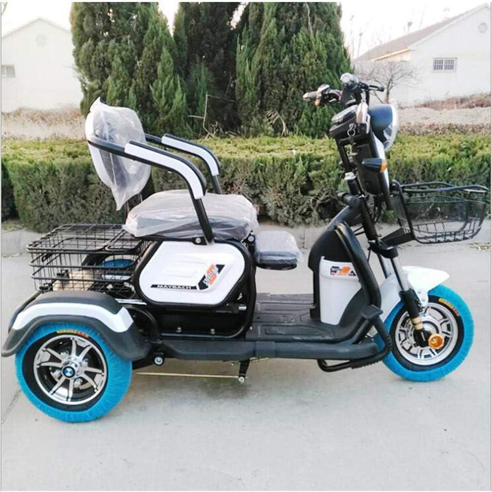 XYDDC Adulto Triciclo eléctrico al Aire Libre Ancianos Viaje discapacitados móvil Vespa 48V20A batería de Litio de Carga máxima de 180 Kg con un Solo botón de Control Remoto,Blanco