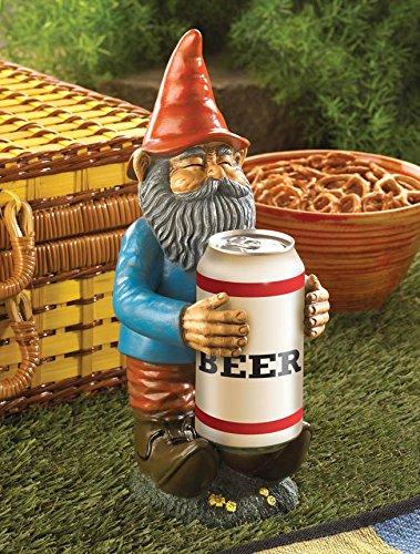 Beer Buddy Garden Patio Outdoor Gnome Sculpture Statue