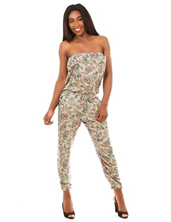 24f9204406f311 Balingi Jumpsuit with paisley pattern for women BA10478, Größe:40/42;Farbe:weiss:  Amazon.co.uk: Clothing