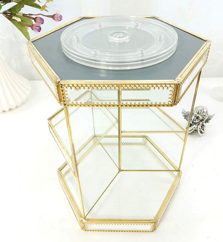 Zwq&zj 360 Degree Rotating Cosmetic Storage Table Ancient Mirror Glass Display Beauty Cosmetic Storage Box, Gold Rotating Support is Applicable to The Large Capacity Brushes Lipsticks Skin Care Toner