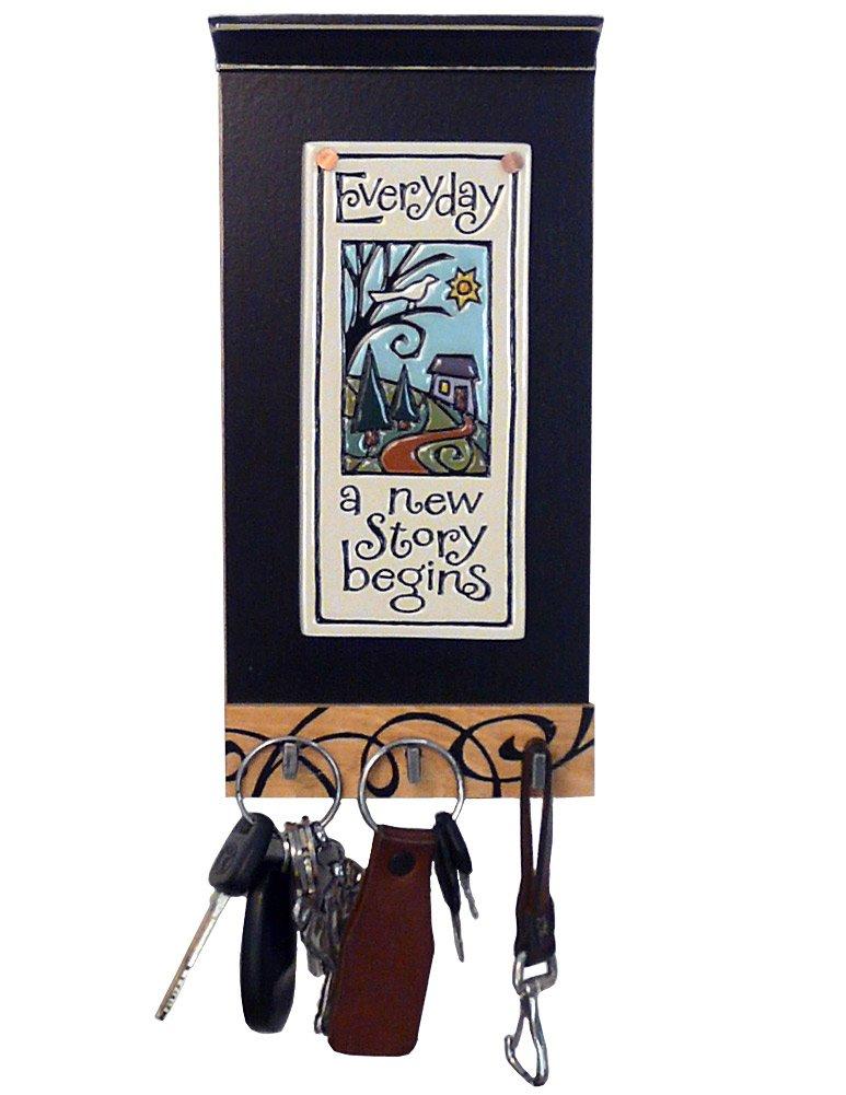 Modern Artisans Inspirational Ceramic Art Tile Key Holder 3 Hooks, Everyday a New Story Begins' Quote by Modern Artisans