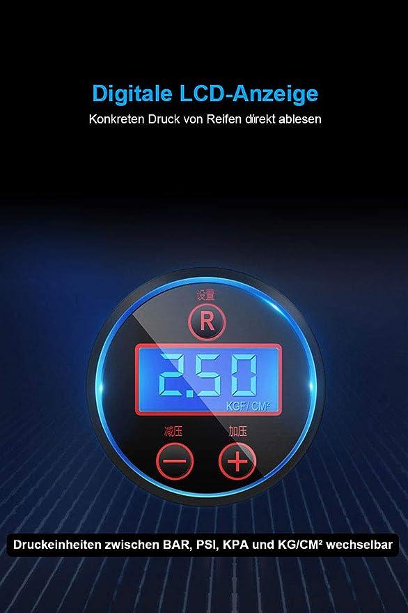 GenkiAuto Minikompressor KFZ Reifenf/üller Luftkompressor Auto Notfall Luftpumpe Autoreifen Luftmatratzen Aufpumpen mit Voreingestellter Reifendruck Funktion 12V KFZ-Anschluss 10Bar//150PSI Max