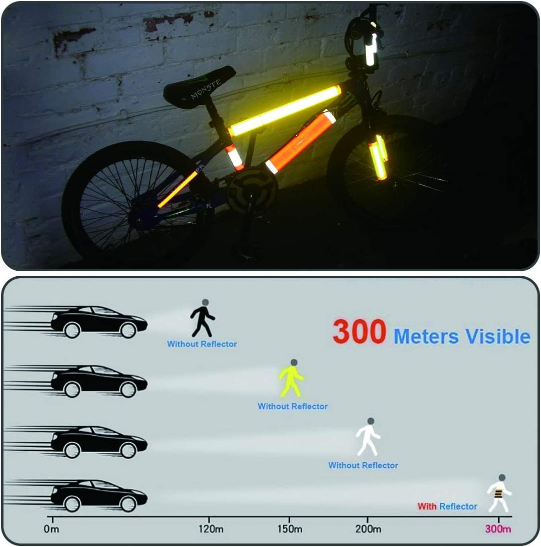 1 Pair 2 Reflective Arm Bands KOECTWYM Childrens Bicycle Training Wheels Flash Mute Heavy Duty Rear Wheel with Stabilizers Mounted for 12 14 16 18 20 inch Kids Bike 1 Reflective Tape