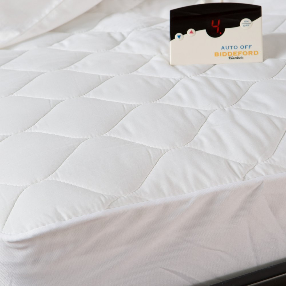Biddeford Quilted Heated TWIN Mattress Pad White