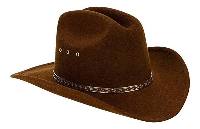 Amazon.com  Brown Child Faux Felt Western Cowboy Hat with Brown and ... 5c08dd23c40