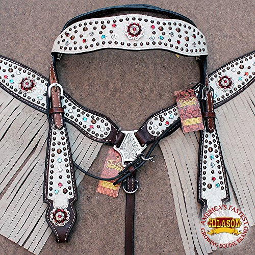 - HILASON American Leather Horse Headstall Breast Collar White Concho