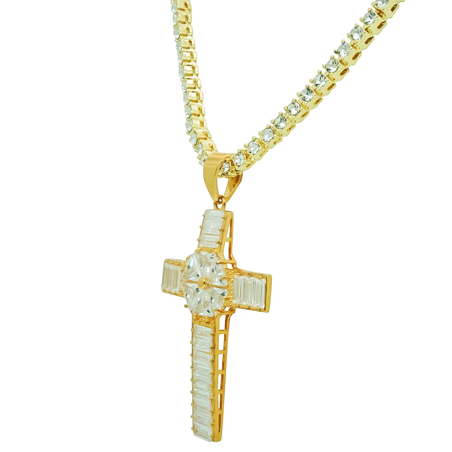 Stainless Steel Yellow Gold-Tone Iced Out Hip Hop Bling 3D Baguette Stone Star Cross Pendant With 1 Row Stone Tennis Chain 24 Necklace Choker Chain