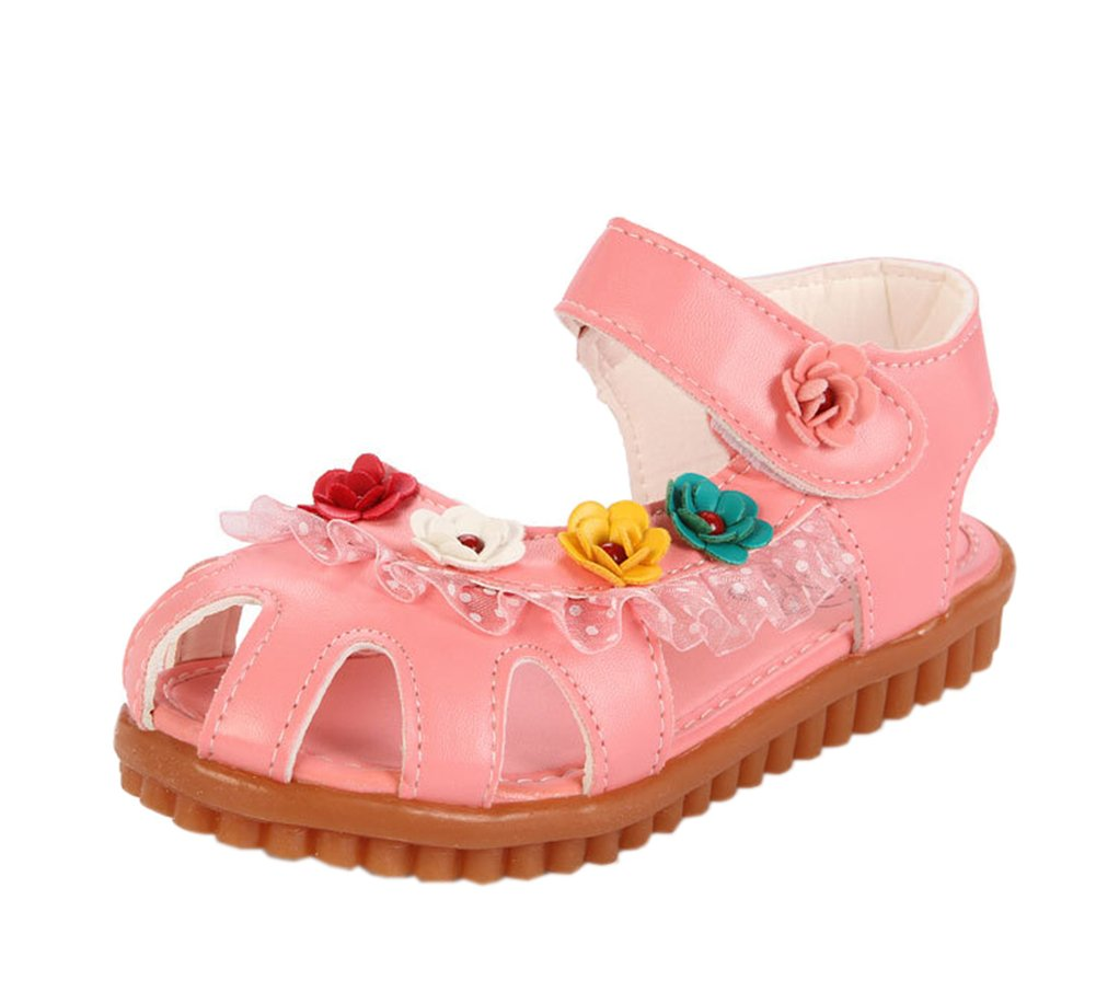 Vokamara Cat Shoes Toddler Walking Shoes Little Girl Close Toe Flat Sandals Pink 30