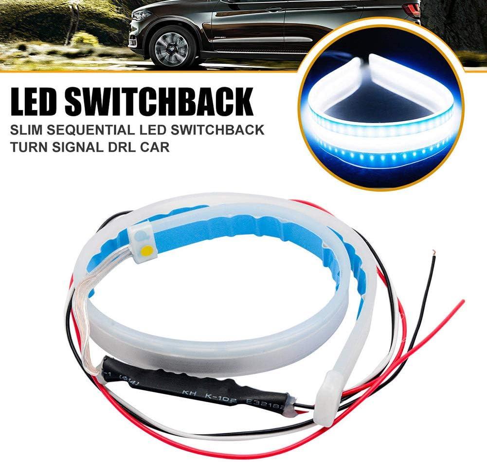 2x 30cm LED Light Strips Tube Switchback Red//Amber Flexible DRL Turn Signal Lamp