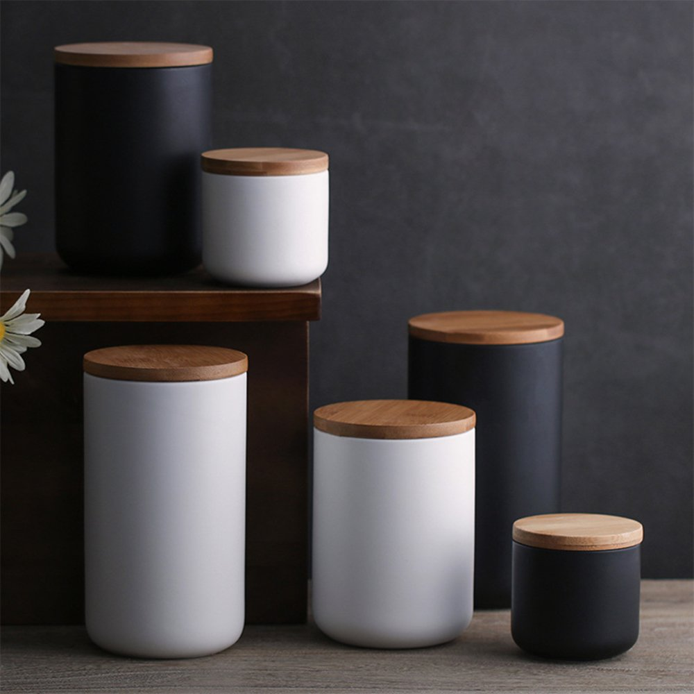 OnePine Set of 3 Air Tight Jars Ceramic Storage Containers with Airtight Seal Bamboo Lids Kitchen Canisters for Tea Sugar Coffee Spice Seasoning and More by OnePine (Image #8)