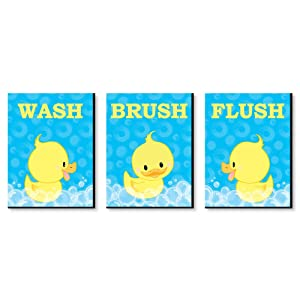 "Ducky Duck - Kids Bathroom Rules Wall Art - 7.5"" x 10"" - Set of 3 Signs - Wash, Brush, Flush"