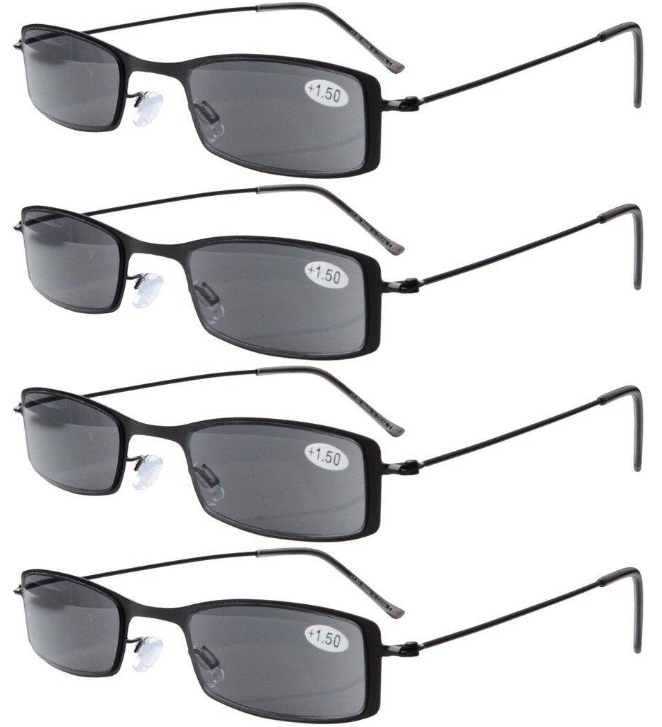 4-Pack Marco de acero inoxidable La mitad ojo estilo Gafas de sol pleno lectores +3.0