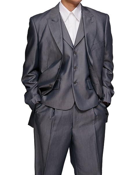 Amazon.com: New para hombre 3 piezas Slim Fit gris traje de ...