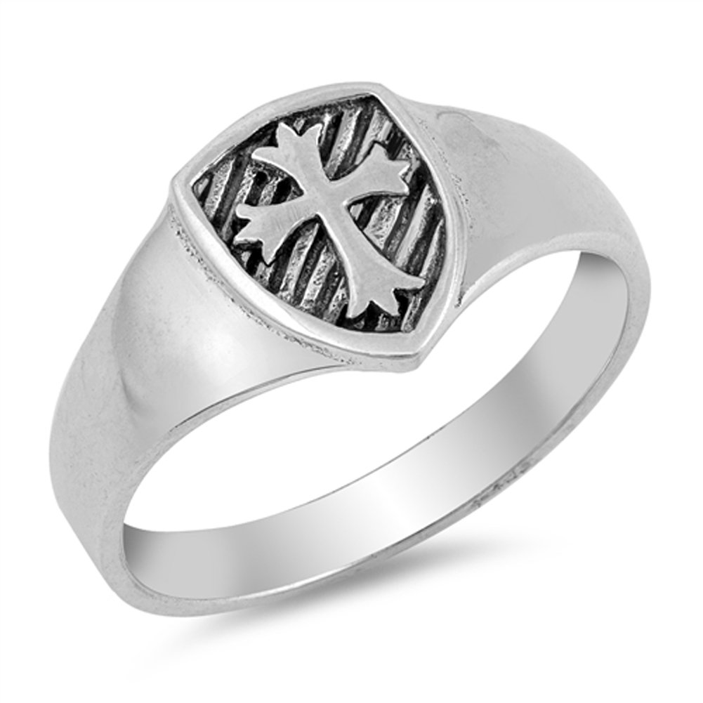 Medieval Cross Shield Coat of Arms Ring New .925 Sterling Silver Band Size 6