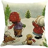 Christmas Pillow Case,Beautyvan Christmas Linen Square Throw Flax Pillow Case Decorative Cushion Pillow Cover (5~F)