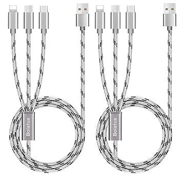 Bolatus Multi USB Cable, 3 en 1 Cable de Carga [2Pack 1.5m] Múltiple Cable Cargador de Nylon Trenzado Micro USB Tipo C y Relámpago Compatible para ...