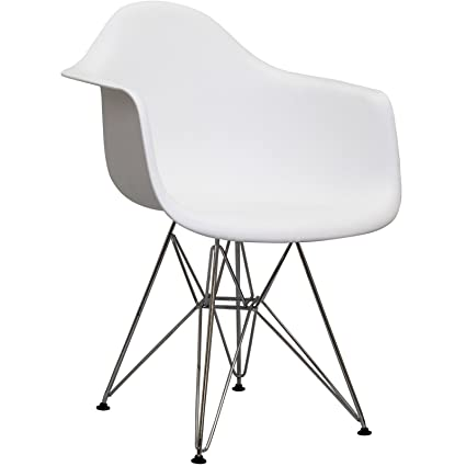 Captivating Modway Paris Mid Century Modern Molded Plastic Armchair In White
