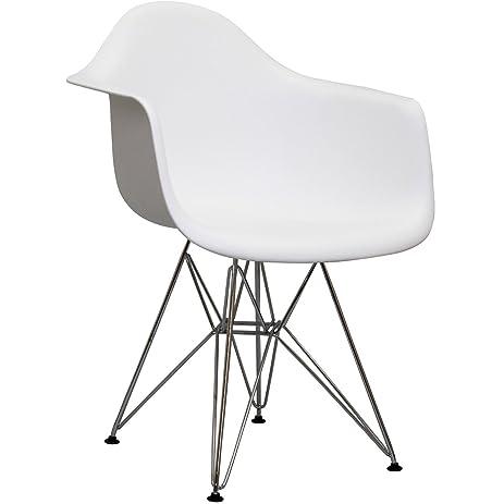 High Quality Herman Miller Eames DAR Style Molded Plastic Eiffel Armchair (White)