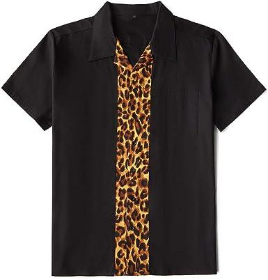 Anchor MSJ - Camisa de manga corta para hombre (algodón, diseño de los años 50, estilo vintage, con botones) - Negro - X-Large: Amazon.es: Ropa y accesorios