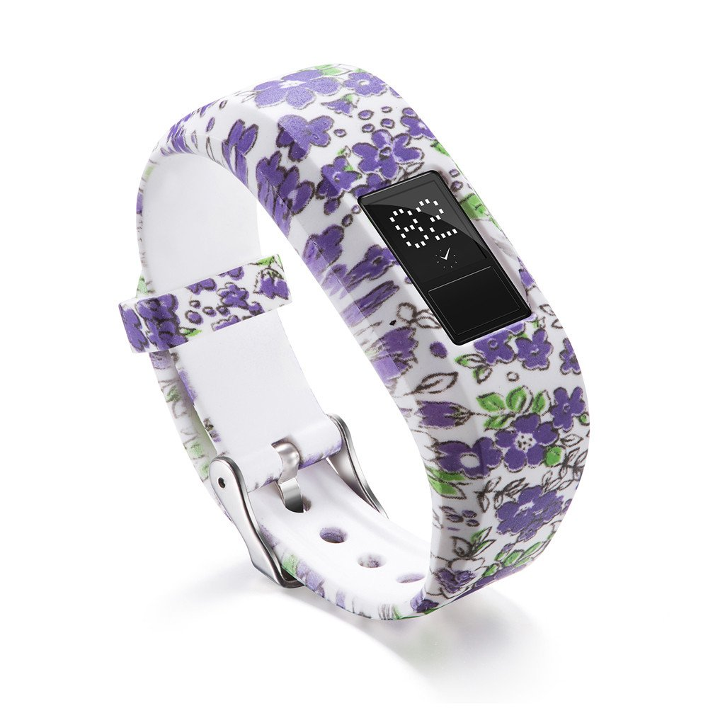 Garmin Vivofit 3 Bands,Lovewe Soft Silicone Replacement Strap Accessory Flower Printing Wristbands For Garmin Vivofit 3 (H)