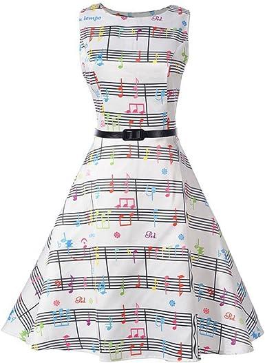 iBaste Vintage Vestidos sin Manga Mujer Impresión de Nota Musical ...