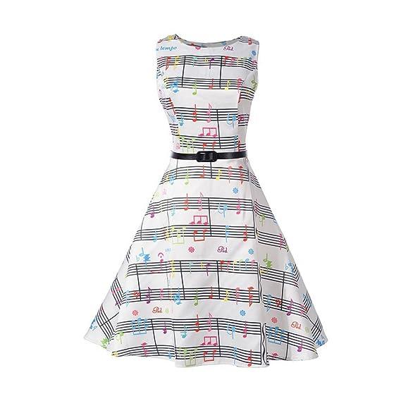 iBaste Vintage Vestidos sin Manga Mujer Impresión de Nota Musical Dress Falda Oscilante Rockabilly Clásico Estilo: Amazon.es: Ropa y accesorios