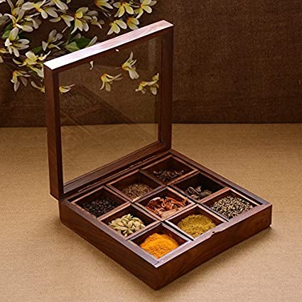 The Indian Arts Wooden Spice Box With Glass On Top And Spoon 8x8x2 Inch Brown