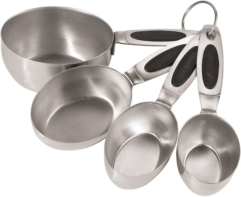 Amazon Com Oggi Stainless Steel Measuring Cups With Ez Grip Santoprene Handles Set Of 4 Kitchen Dining