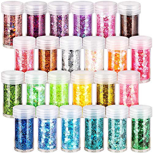 24 Boxes Holographic Chunky Glitter, FANDAMEI 24 Colors 10g Nail Art Glitter Sequins, Iridescent Glitter Flakes for Nail…